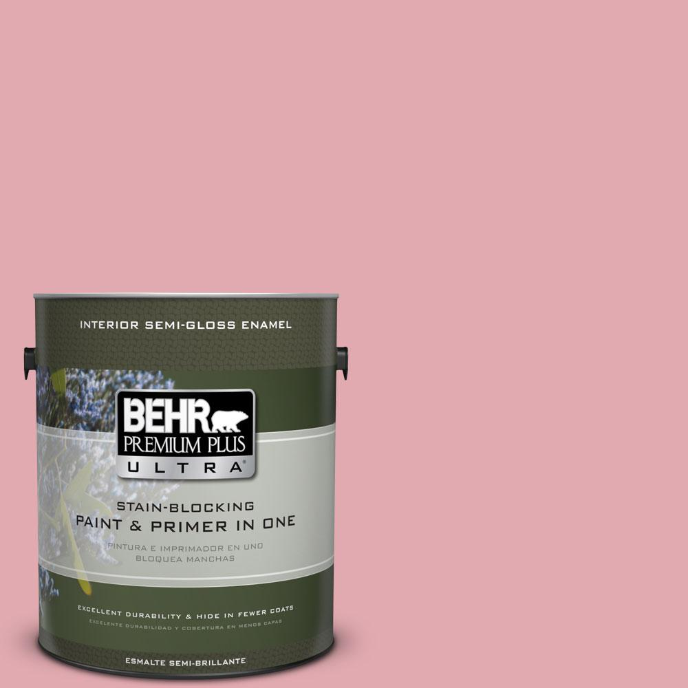 BEHR Premium Plus Ultra 1-gal. #130C-3 Raspberry Lemonade Semi-Gloss Enamel Interior Paint