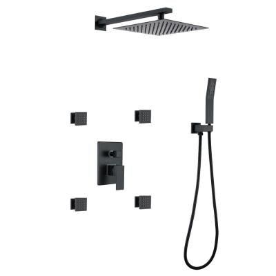 Single-Handle 1-Spray High Pressure Shower Faucet Wall Mount Faucet in Matte Black (Valve Included)