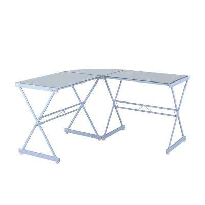 White L-Shaped Glass Computer Desk
