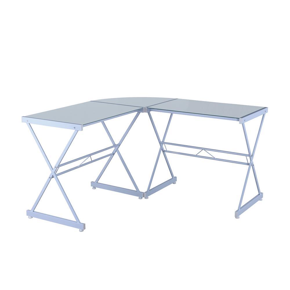 Sensational Techni Mobili White L Shaped Glass Computer Desk Rta 3805L Interior Design Ideas Clesiryabchikinfo