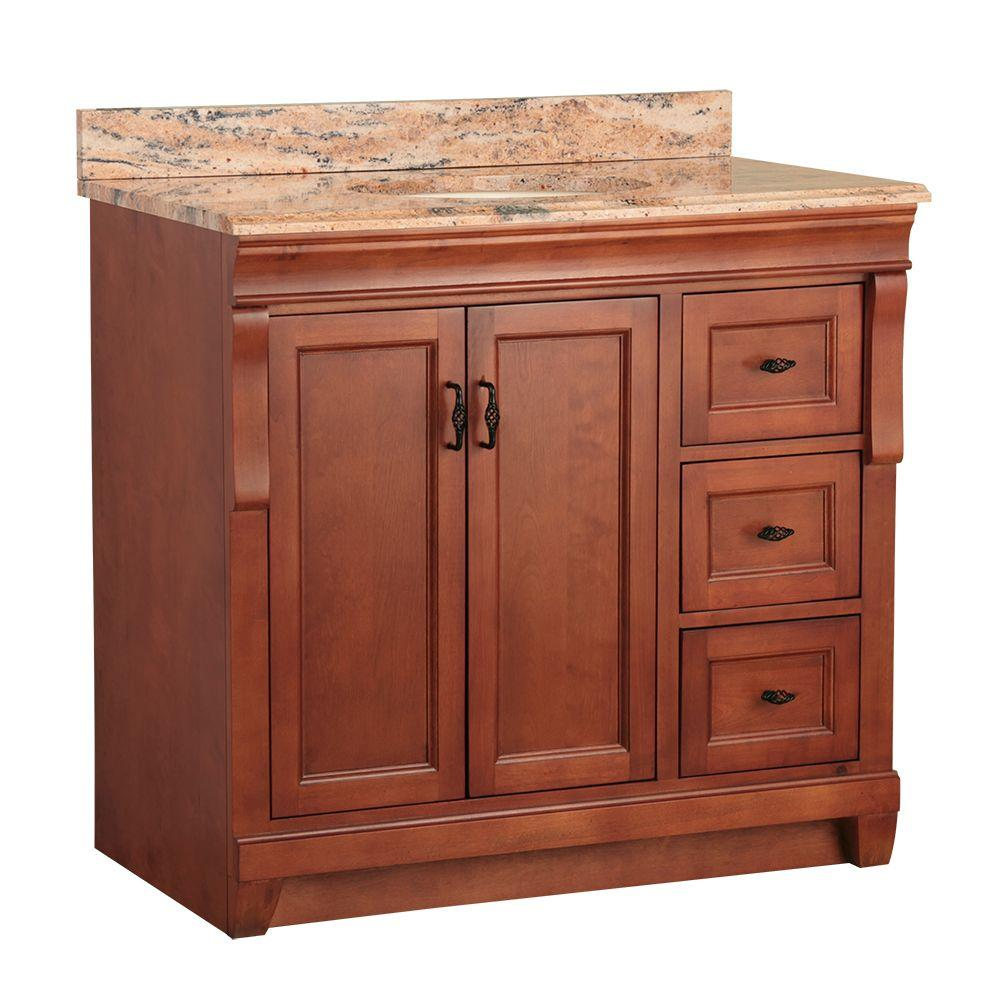 Home Decorators Collection Naples 37 in. W x 22 in. D Vanity in Warm Cinnamon with Vanity Top and Stone Effects in Bordeaux