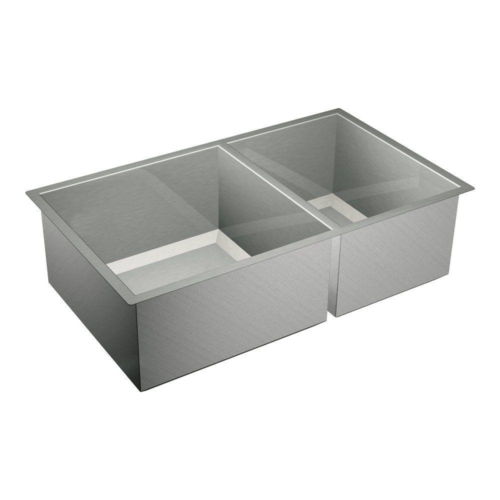1600 Series Undermount Stainless Steel 34 in. Double Bowl Kitchen Sink
