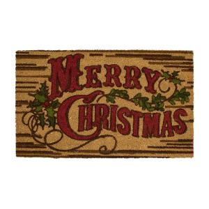 Rustic Christmas 18 in. x 30 in. Coir Holiday Mat