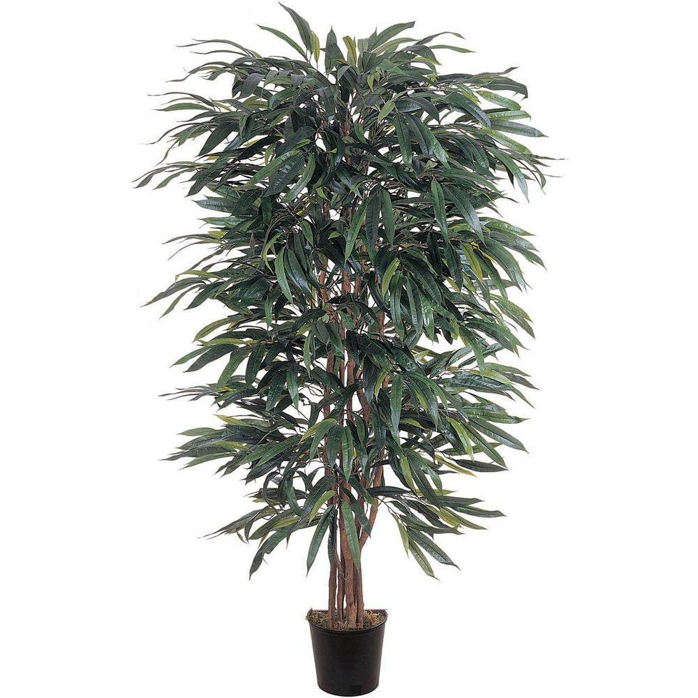 Nearly Natural 5 ft. Weeping Ficus Silk Tree, Green