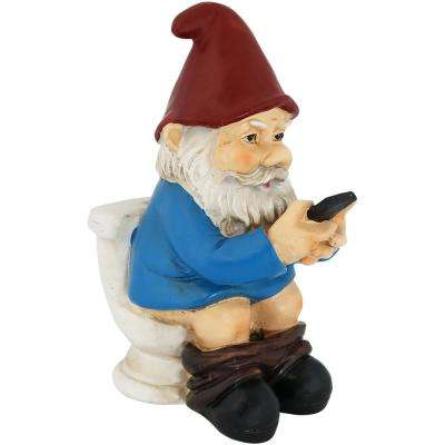 9.5 in. Cody the Gnome Reading Phone on The Throne Garden Statue