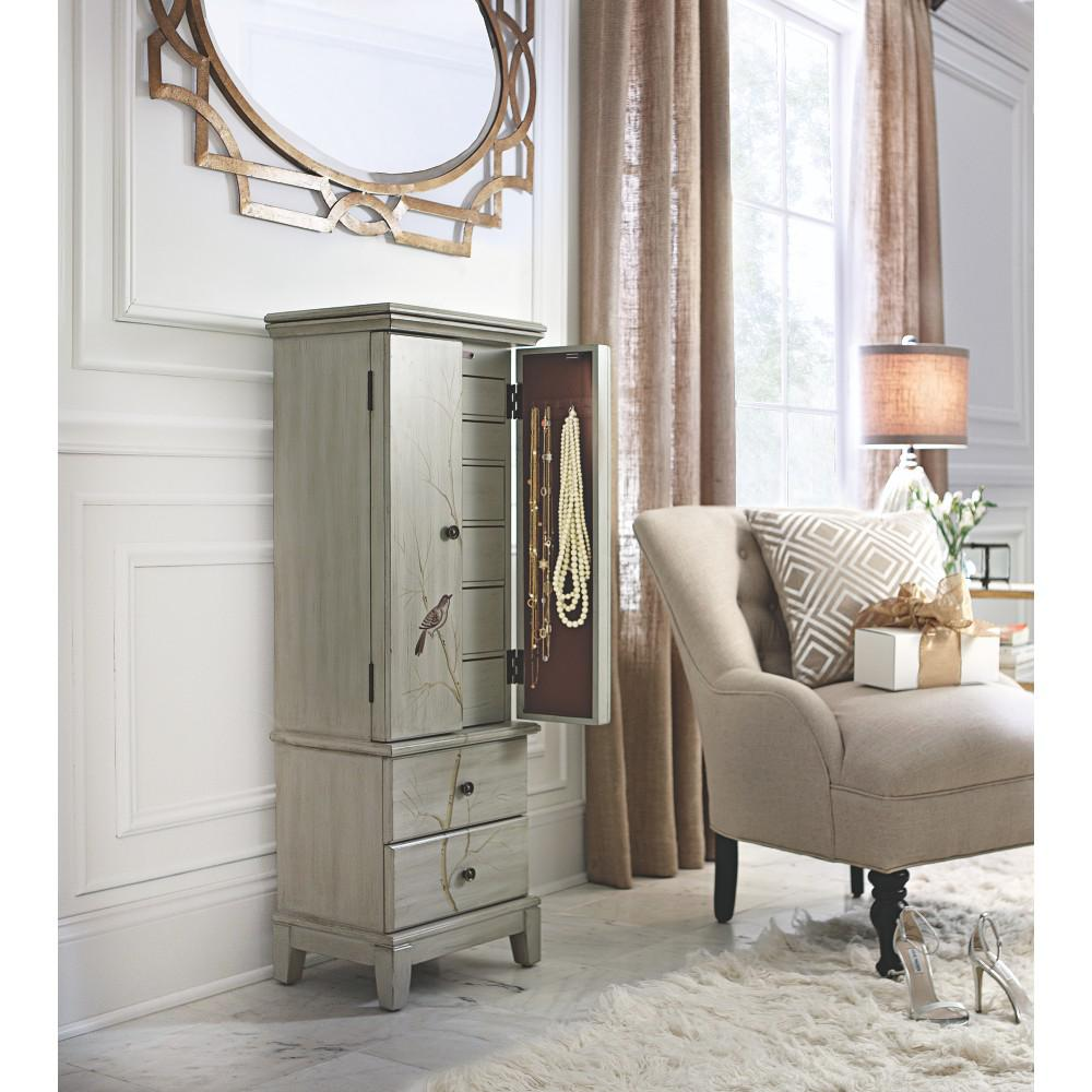 Home Decorators Collection Chirp Pewter Jewelry Armoire 1092210310   The  Home Depot. Home Decorators Collection Chirp Pewter Jewelry Armoire 1092210310
