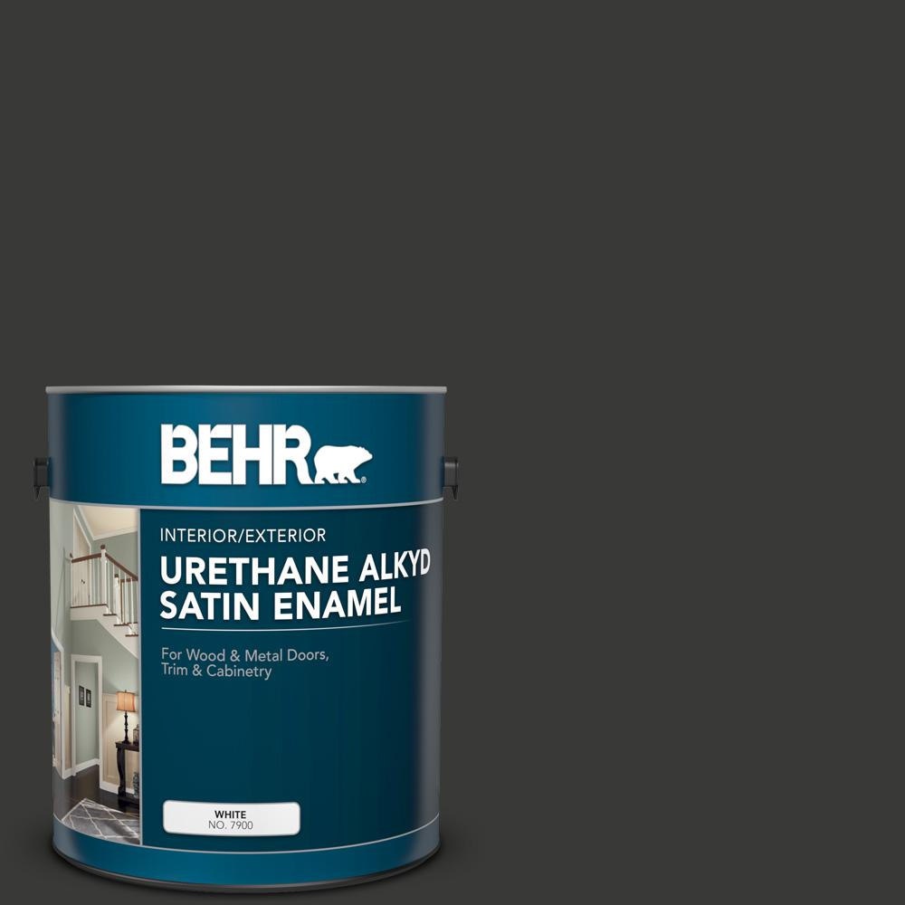 BEHR 1 gal  Home Decorators Collection #HDC-MD-04 Totally Black Urethane  Alkyd Satin Enamel Interior/Exterior Paint