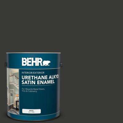 1 gal. Home Decorators Collection #HDC-MD-04 Totally Black Urethane Alkyd Satin Enamel Interior/Exterior Paint