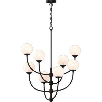 Lawrence 8-Light Foundry Bronze Indoor Hanging Chandelier with Etched White Cased Glass Round Sphere Globe Orb Shades
