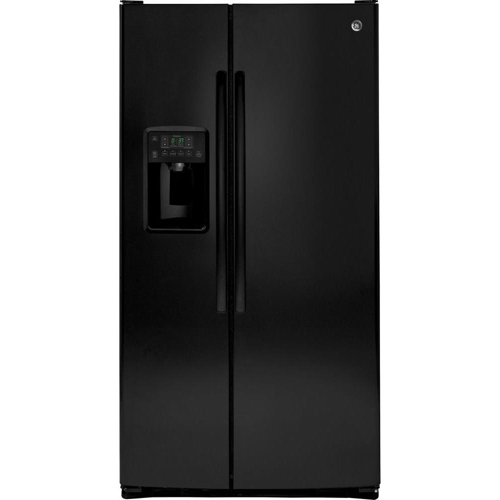25.3 cu. ft. Side by Side Refrigerator in Black GE appliances provide up-to-date technology and exceptional quality to simplify the way you live. With a timeless appearance, this family of appliances adds allure and functionality to any kitchen. And, coming from one of the most trusted names in America, you know that this entire selection of appliances is as advanced as it is practical. Color: Black.