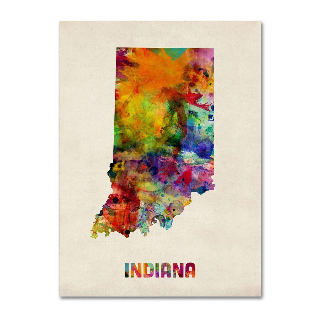 Trademark Fine Art 14 in. x 19 in. Indiana Map Canvas Art