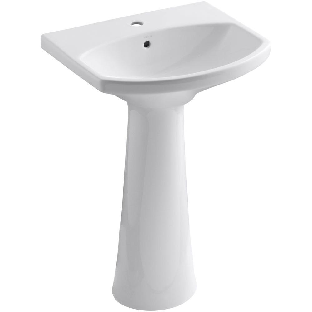 KOHLER Cimarron Single Hole Vitreous China Pedestal Combo Bathroom Sink with Overflow Drain in White with Overflow Drain