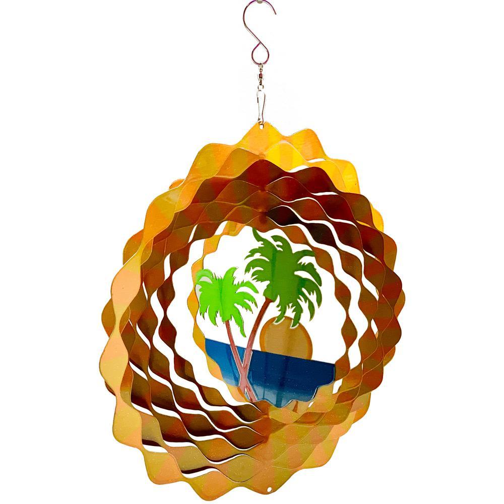 Falkirk Wind 12 in. Stainless Steel Wind Spinner  Mandala Palm Trees Beach Sun in Yellow Orange Green Blue