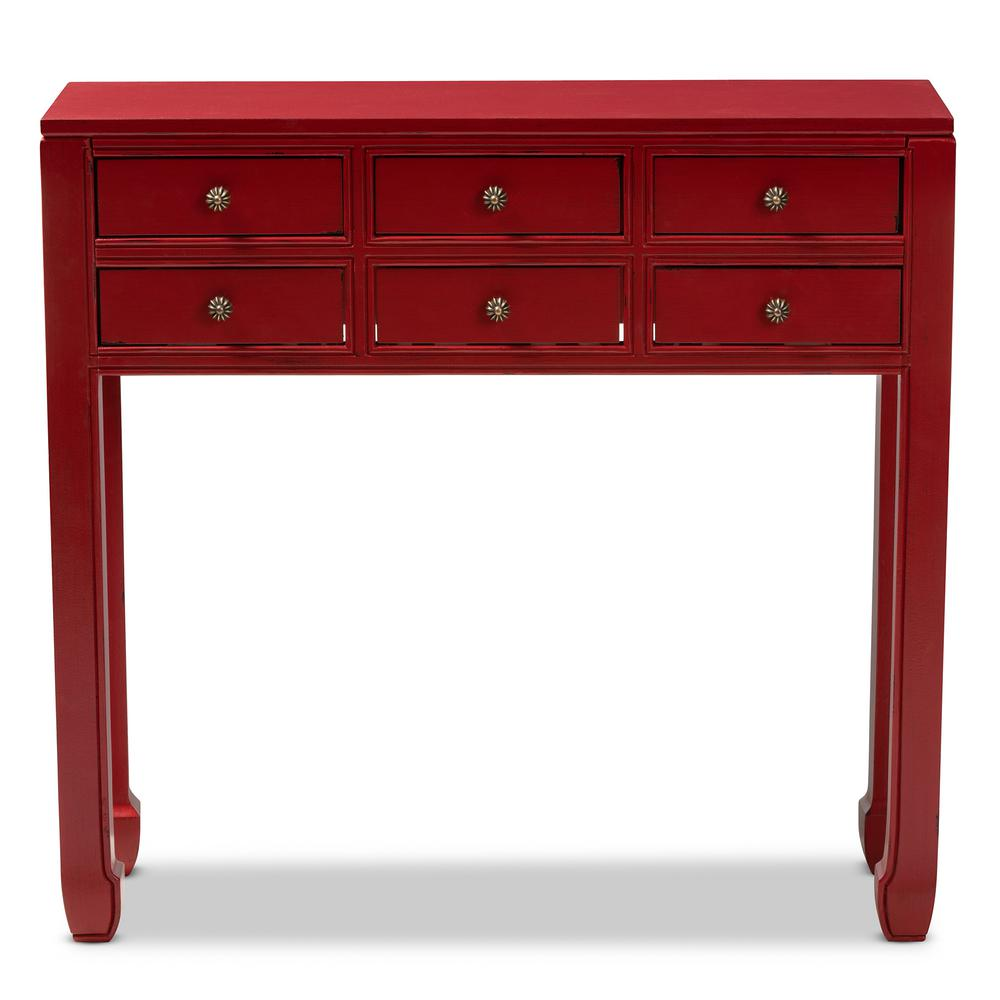 Baxton Studio Pomme Red 6 Drawer Console Table