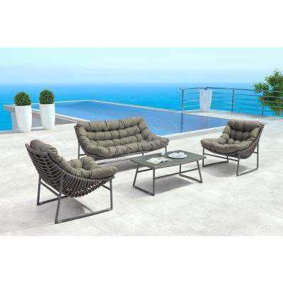Ingonish Grey Patio Lougne Chair with Grey Cushion