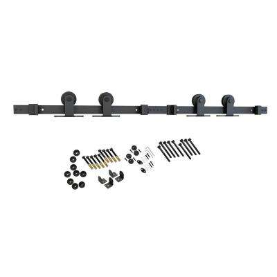 Black Solid Steel Sliding Rolling Barn Door Hardware Kit for Double Wood Doors With Non-Routed Adjustable Floor Guides
