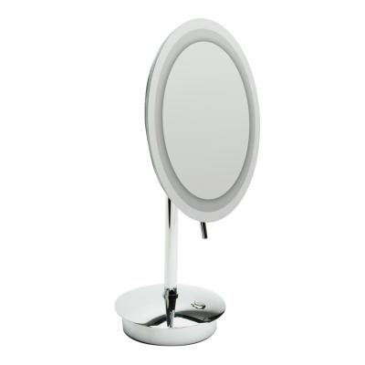 14.25 in. x 9 in. Round Freestanding LED Lighted Single 5X Mirror in Polished Chrome