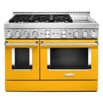 48 in. 6.3 cu. ft. Smart Double Oven Commercial-Style Gas Range with Griddle and True Convection in Yellow Pepper