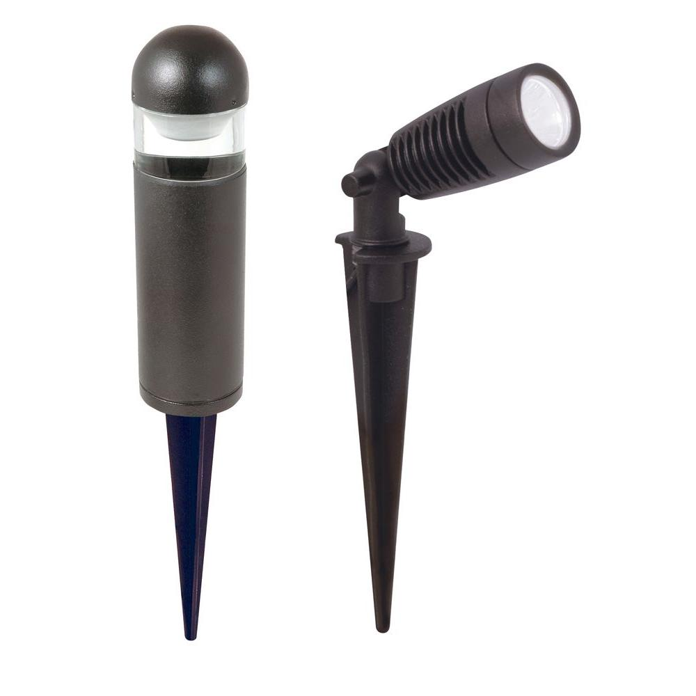 Low-Voltage Black Outdoor Integrated LED Landscape Spot Light and Bollard-Style