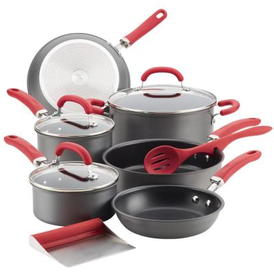 Create Delicious Hard-Anodized 11-Piece Red Handles Aluminum Nonstick Cookware Set