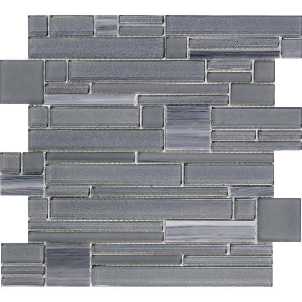 Entity Zest Glossy 11.81 in. x 11.81 in. x 8mm Glass Mesh-Mounted Mosaic Tile (0.97 sq. ft.)