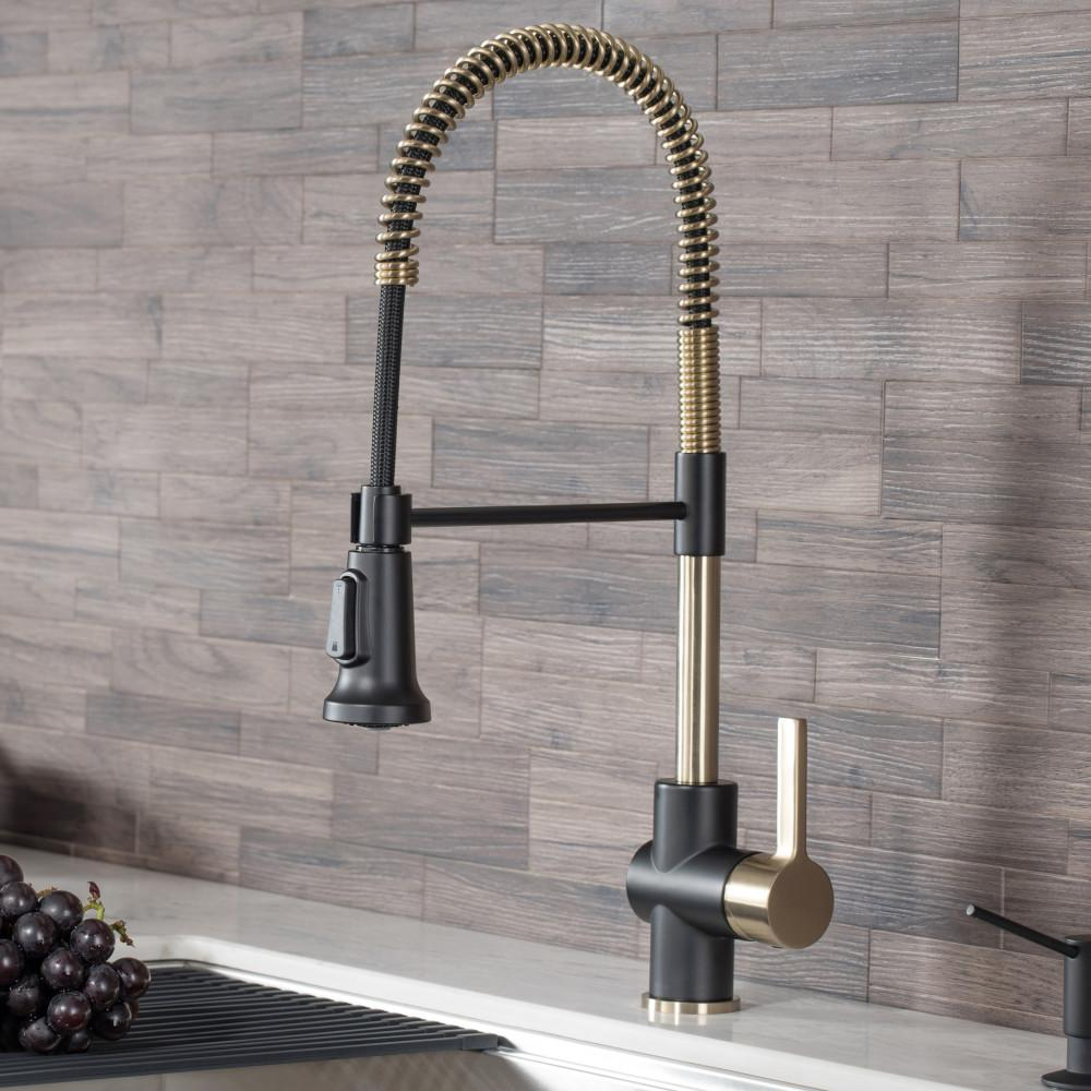Kraus Britt Single Handle Pull Down Kitchen Faucet With Dual Function Sprayer In Brushed Gold Matte Black Kpf 1690bgmb The Home Depot