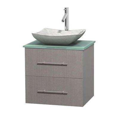 Centra 24 in. Vanity in Gray Oak with Glass Vanity Top in Green and Carrara Sink