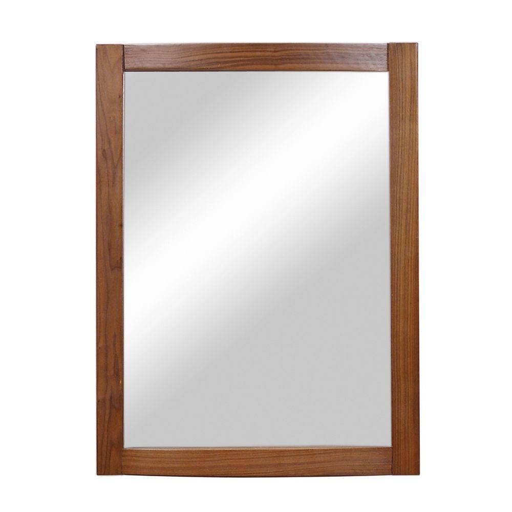 Gavin 32 in. x 24 in. Birch Framed Wall Mirror in Medium Walnut