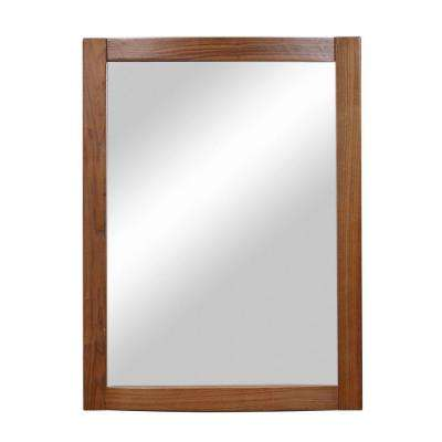 Gavin 32 in. x 24 in. Birch Framed Wall Mirror in Medium Walnut