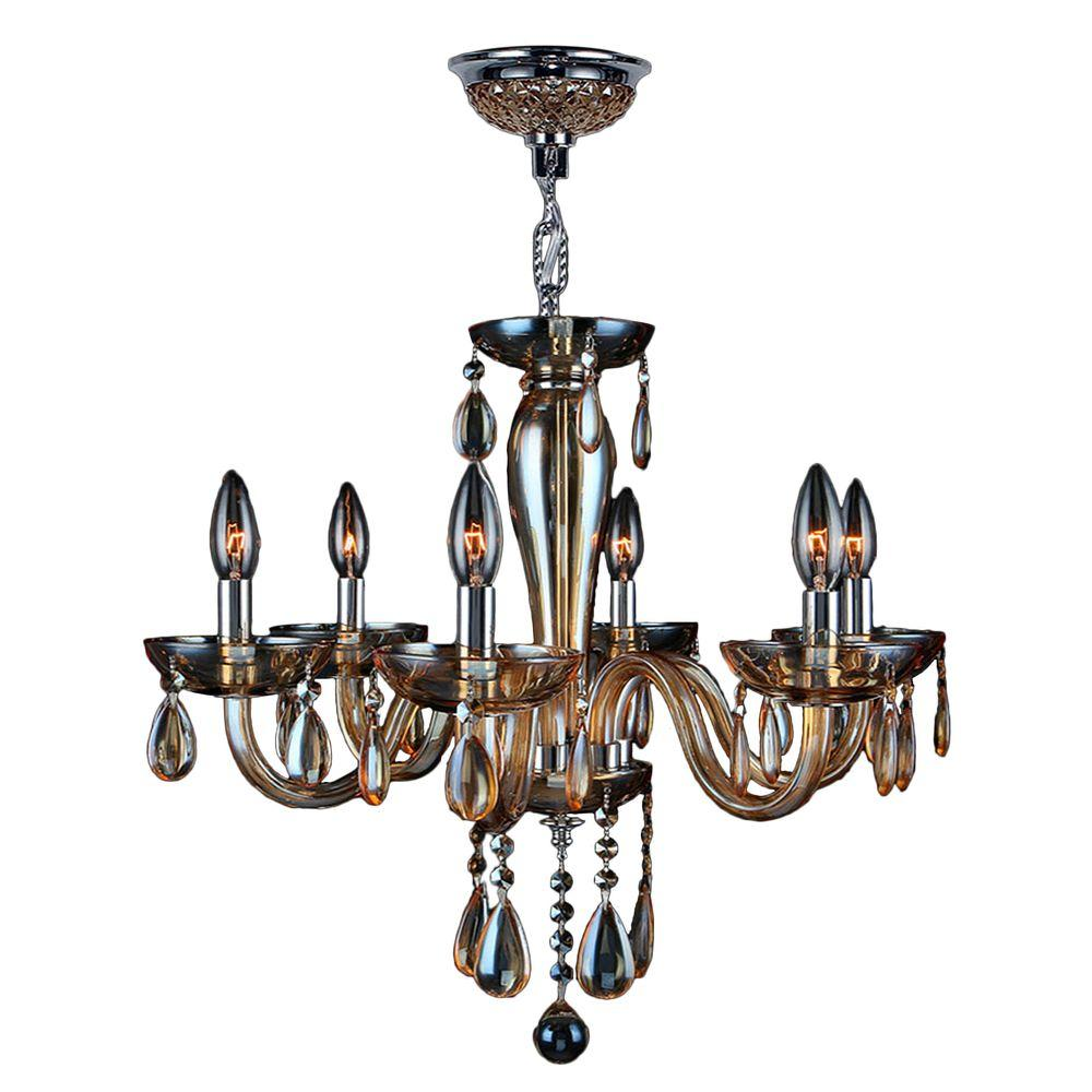 Worldwide lighting gatsby collection 6 light polished chrome and worldwide lighting gatsby collection 6 light polished chrome and amber crystal chandelier aloadofball Gallery