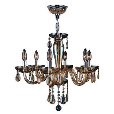Gatsby Collection 6-Light Polished Chrome and Amber Crystal Chandelier