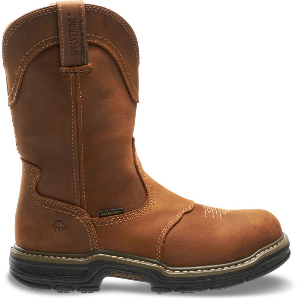 49d5d42f2d3 Wolverine Men's Anthem Size 7M Brown Full-Grain Leather Waterproof 10 in.  Contourwelt