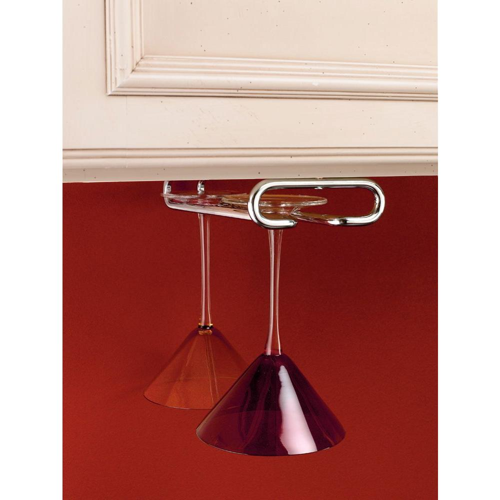 Rev-A-Shelf 1.5 in. H x 4.5 in. W x 11 in. D Chrome Under Cabinet Wine Glass Holder