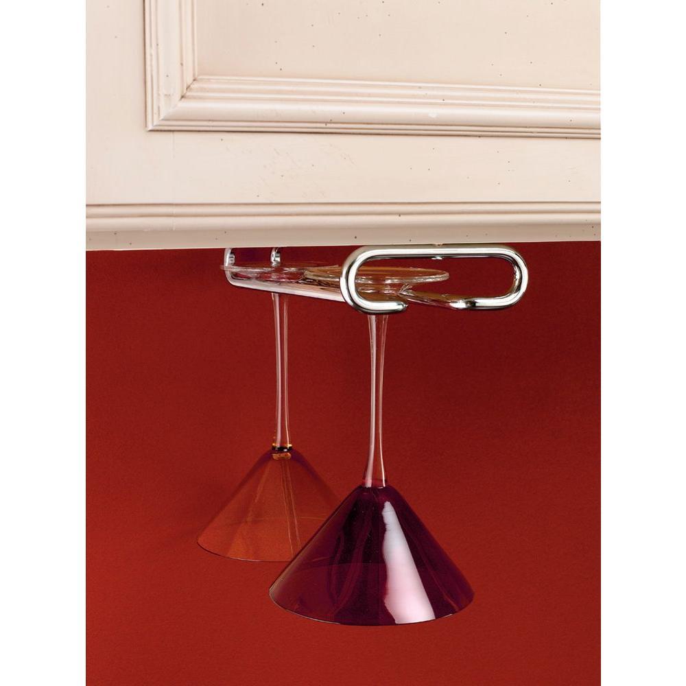 Rev-A-Shelf 1.5 in. H x 4.25 in. W x 16 in. D Chrome Under Cabinet Wine Glass Holder