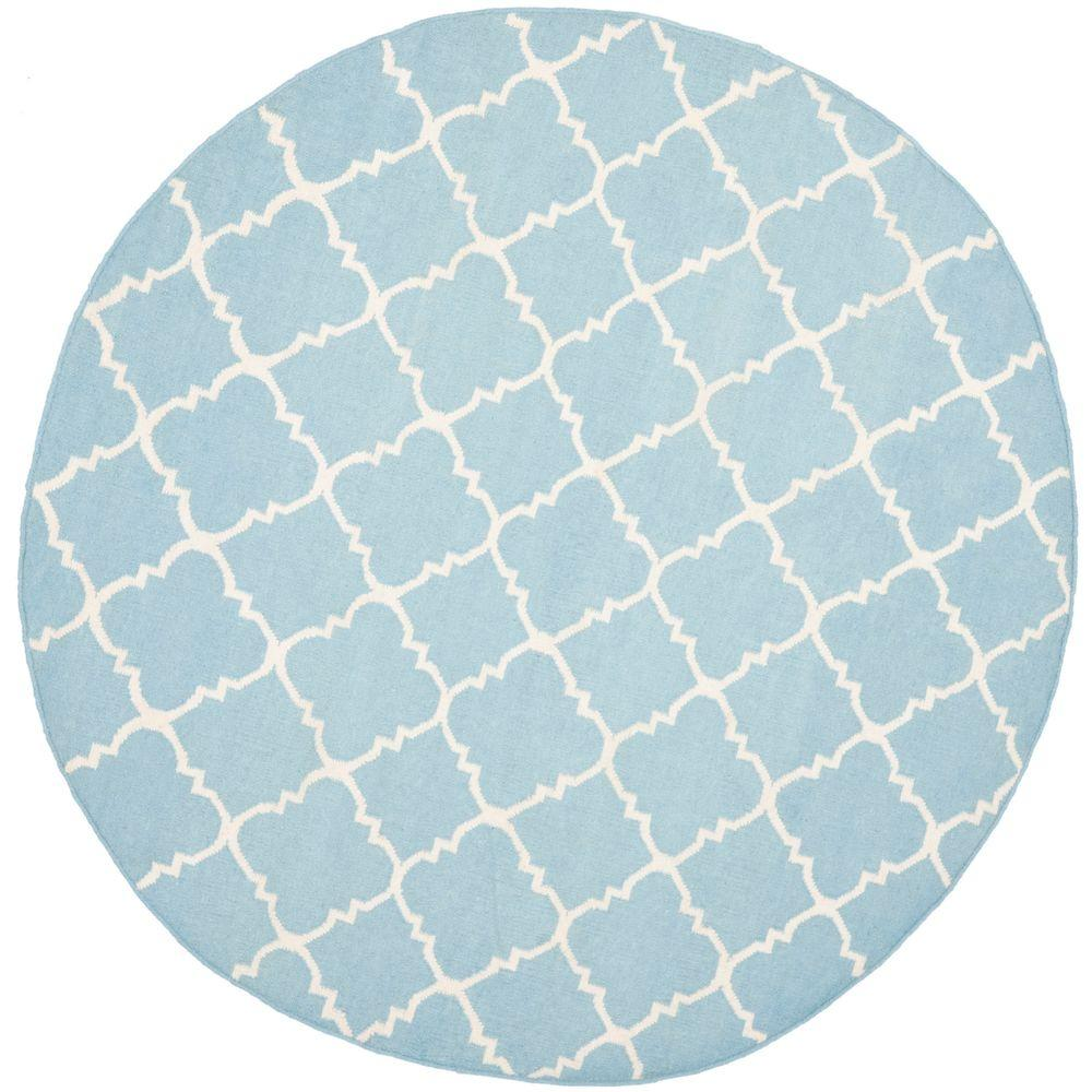 Dhurries Light Blue/Ivory 8 ft. x 8 ft. Round Area Rug