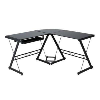 Ultramodern Glass Black L-Shape Desk