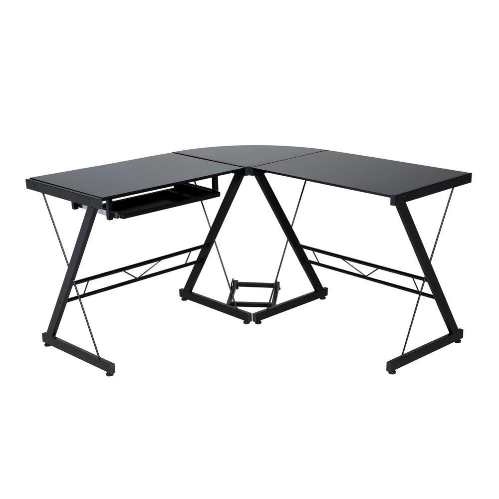 OneSpace Ultramodern Glass Black L-Shape Desk