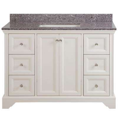 Stratfield 49 in. W x 22 in. D Bathroom Vanity in Cream with Stone Effect Vanity Top in Mineral Gray with White Sink