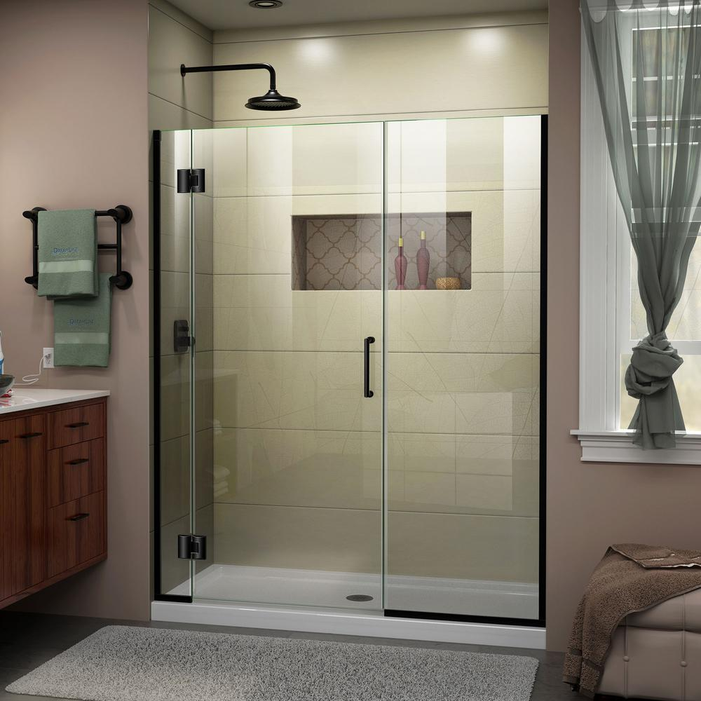 Dreamline Unidoor X 48 To 5 In 72 Frameless Hinged Shower Door Satin Black