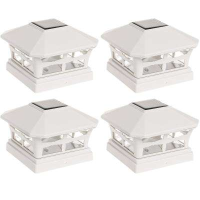 Mission Style Solar Powered Outdoor Integrated LED White Post Light (4-Pack)