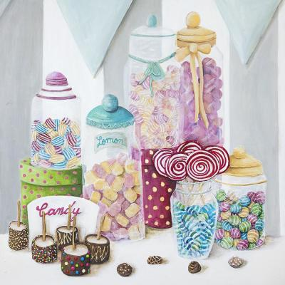 """40 in. x 40 in. """"Candy Shop Treats"""" by Jade Printed and Painted Canvas Wall Art"""