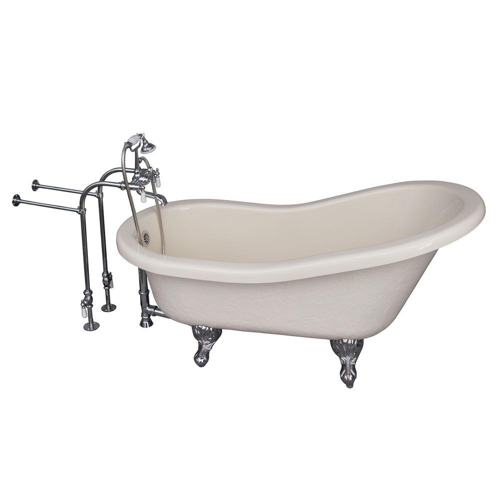 Barclay Products 5 ft. Acrylic Ball and Claw Feet Slipper Tub in Bisque with Polished Chrome Accessories