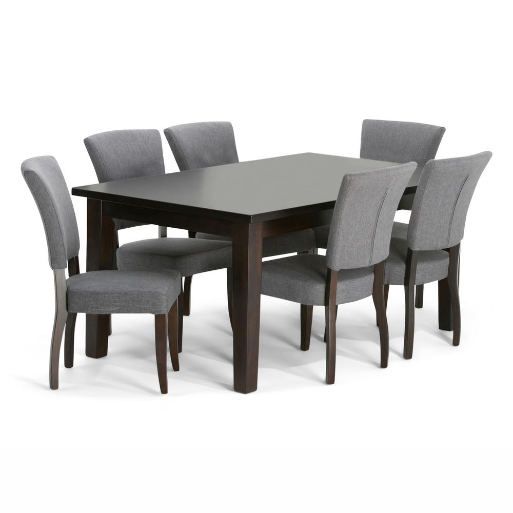 Simpli Home Joseph 7 Piece Slate Grey Dining Set