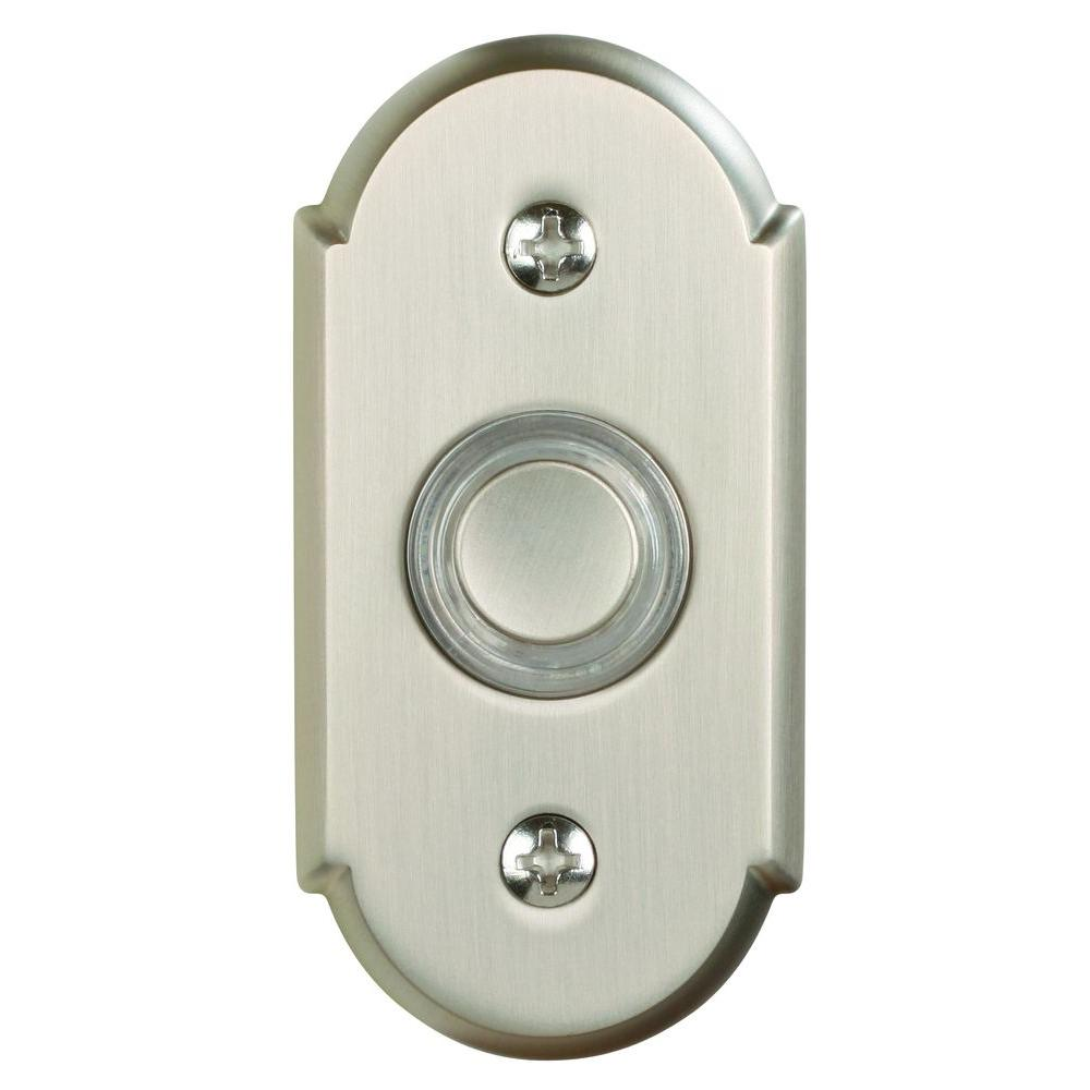 Heath Zenith Wired Halo-Lighted Polished Brass Push Button with Rope Design Trim-DISCONTINUED