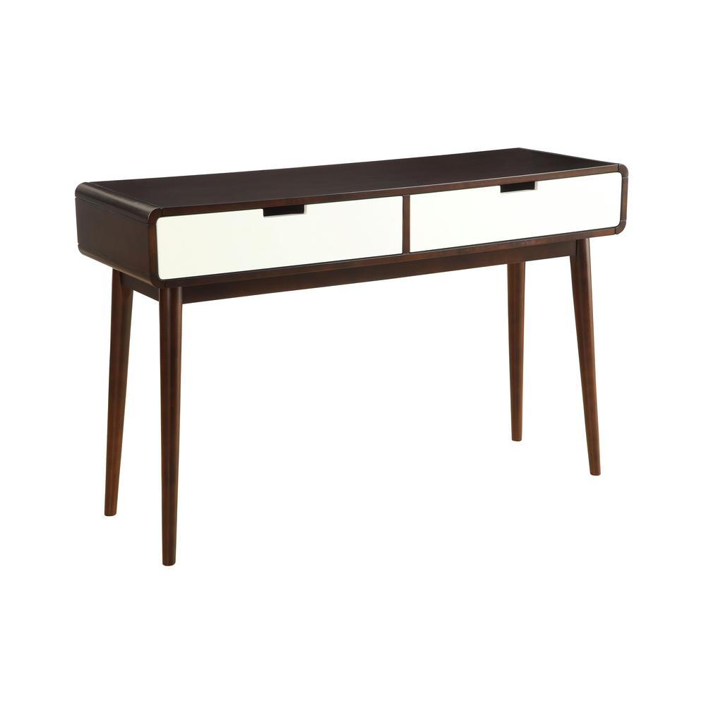 Acme Furniture Christa Walnut And White Storage Console Table