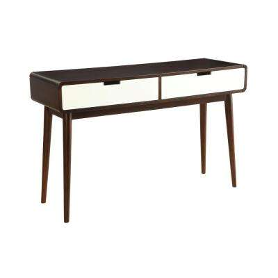 Christa Walnut and White Storage Console Table