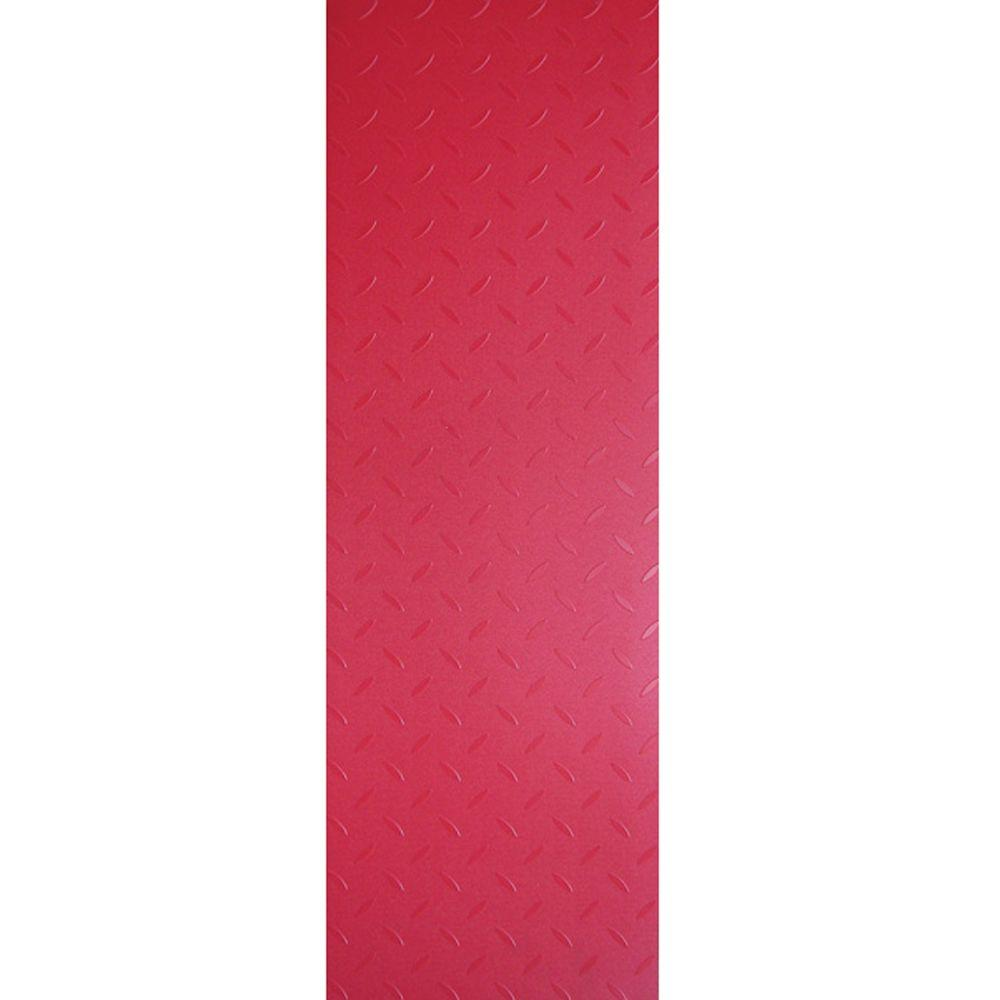 TrafficMASTER Commercial 12 in. x 36 in. Diamond Plate Red Vinyl Flooring (24 sq. ft. / case)