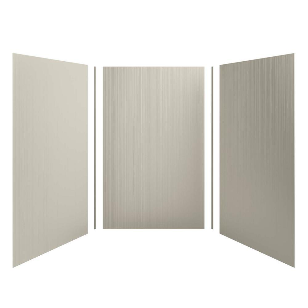 KOHLER Choreograph 60 in. x 96 in. 3-Piece Easy Up Adhesive Alcove Shower Surround Walls with Cord Texture in Sandbar
