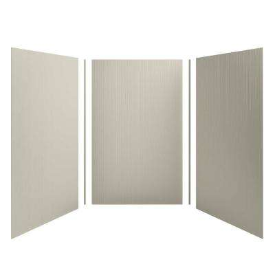 Choreograph 60 in. x 96 in. 3-Piece Easy Up Adhesive Alcove Shower Surround Walls with Cord Texture in Sandbar