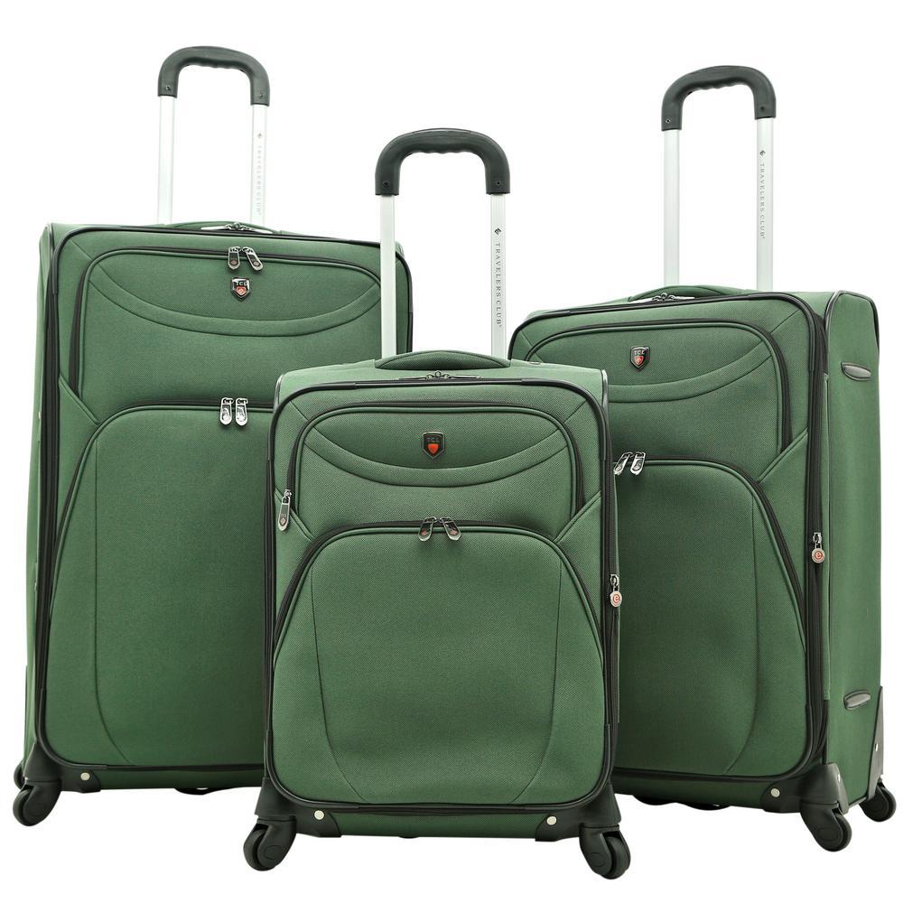 3-Piece EVA Expandable Vertical Luggage Set, Green